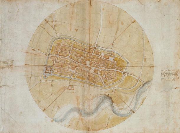 Plan of Imola (1502) by Leonardo da Vinci for Cesare Borgia.