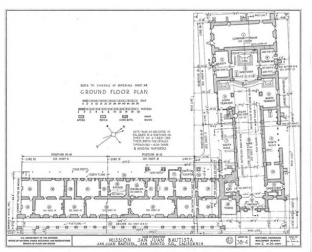 Plan of Mission San Juan Bautista showing the church's off-square orientation
