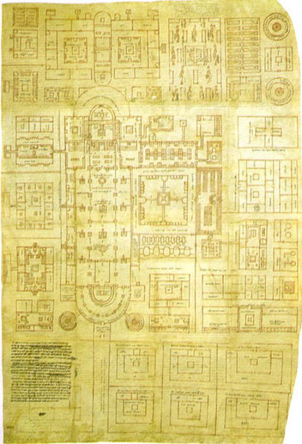 The Plan of St Gall, the only surviving major architectural drawing from the Early Middle Ages.