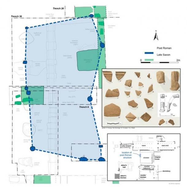 Plan of the post Roman timber structure and associated late Roman amphorae. Liz Gardner, Author provided