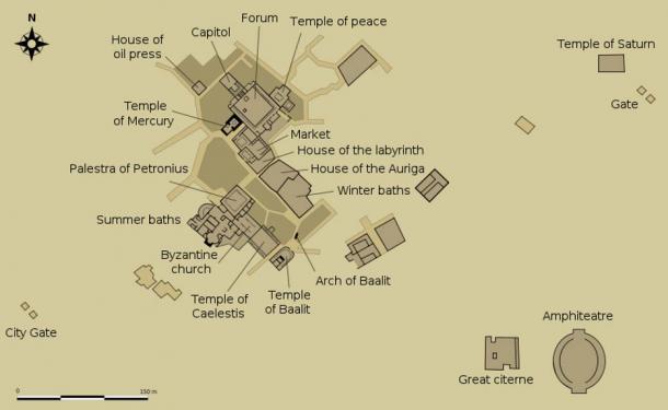 Plan of the ruins at Thuburbo Maius, Tunisia