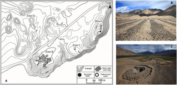 A - Plan view of the Jirzankal Cemetery where the evidence of cannabis use was found; B - black and white stone strips on the cemetery surface; C - circular burial mounds with stone rings. (Xinhua Wu / Science Advances)