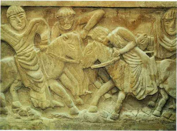"""Plantard claimed that he was the Great Monarch, a descendant of the so-called """"lost King"""" Dagobert, seen here in a carving depicting his murder. (Public domain)"""