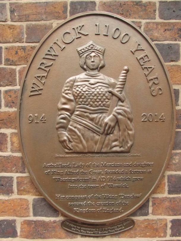 Plaque honoring Aethelflaed in Warwick, England
