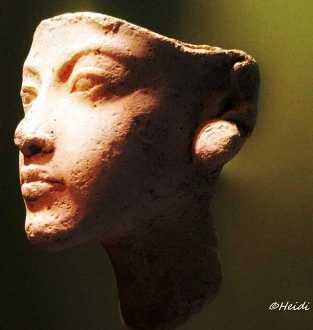 Plaster study of a young woman wearing large earrings, generally identified as Kiya, currently on display at the Neues Museum, Berlin