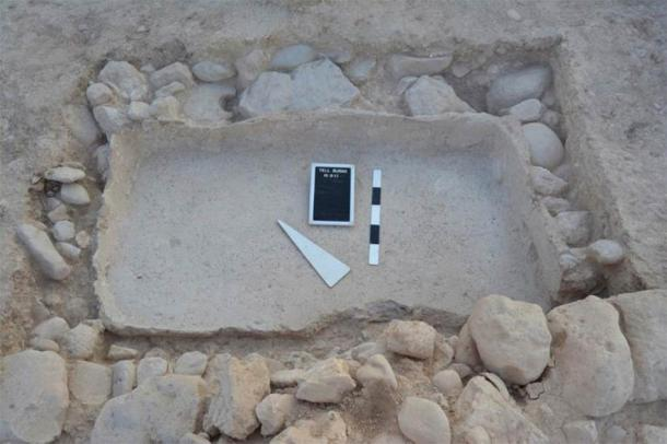 Plastered basin in room 3 of house 3 at Tell el-Burak, from the south-west. (Courtesy of the Tell el-Burak Archaeological Project/Antiquity)
