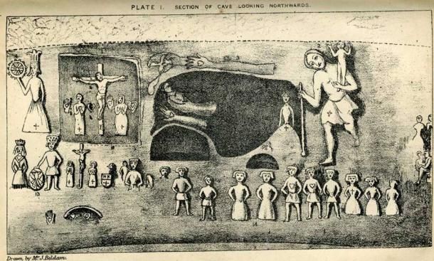 Plate I from Joseph Beldam's book The Origins and Use of the Royston Cave, 1884 showing some of the numerous carvings