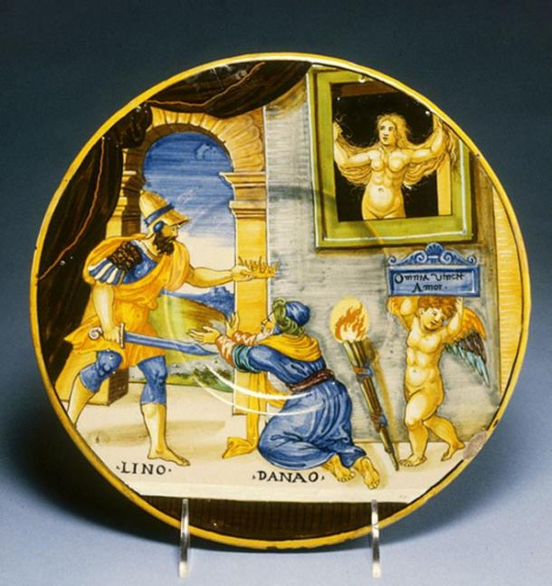 Plate with Hypermnestra Watching Lynceus Take Her Father's Crown (1537) by Francesco Xanto Avelli.