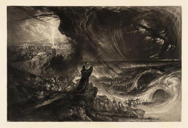 """Plate from 'Illustrations to the Bible' – """"The destruction of the Pharaoh's Host,"""" by John Martin (1833), using the Mezzotint technique. (TATE)"""