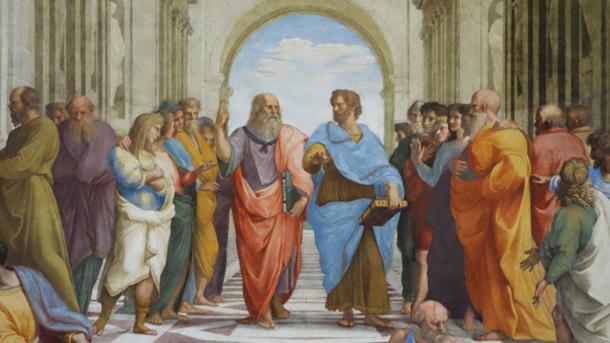 Plato and Aristotle on School of Athens, fresco, Raphael 1509-1511