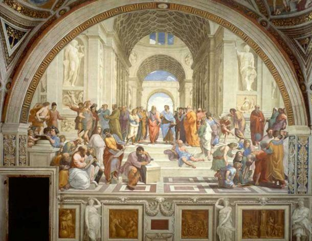 Plato's Academy: The School of Athens by Raphael (1509–1510), fresco at the Apostolic Palace, Vatican City.