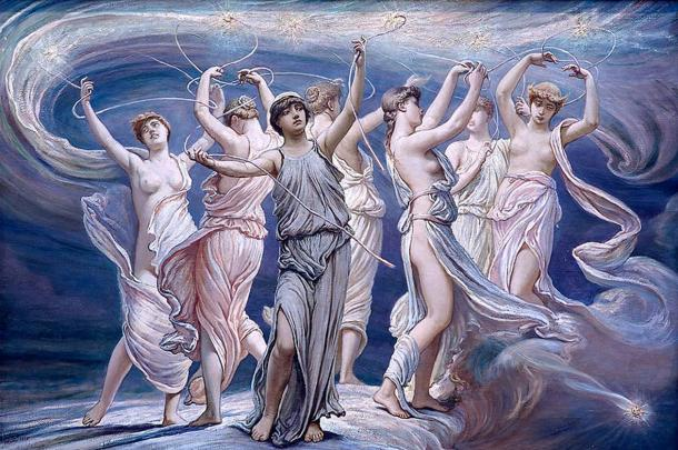In the Greek myth of the Pleiades, a group of seven sisters were transformed into a cluster of stars, and were chased by a man seen in the Orion stars.