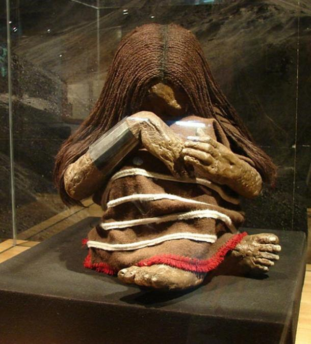 A replica of the Plomo mummy on display at the Museo Nacional de Historia Natural in Santiago, Chile.