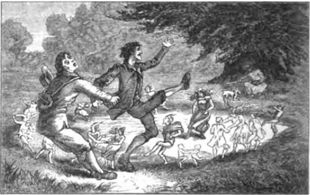 """""""Plucked from the Fairy Circle"""" A man saves his friend from the grip of a fairy ring."""