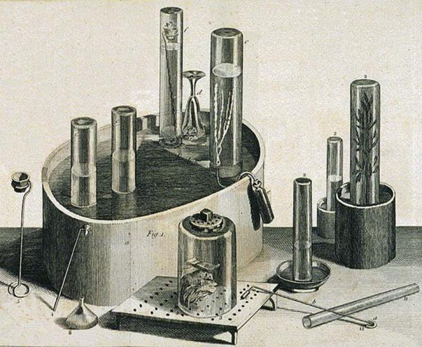Pneumatic trough, glass collecting cylinders and other equipment used by Priestley in his experiments on gases, including nitrous oxide. (Astrochemist / Public Domain)