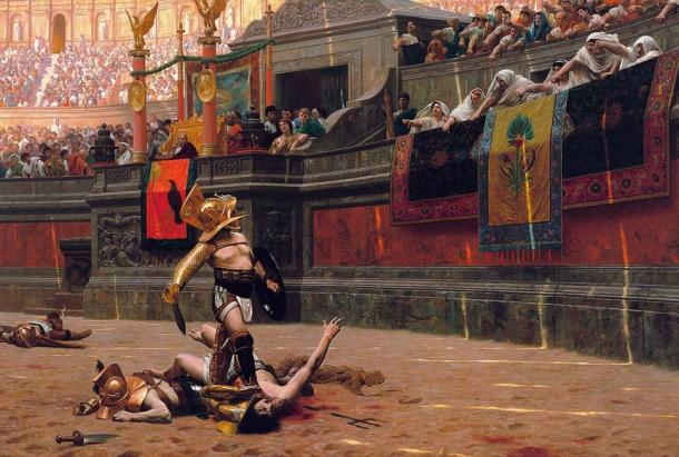 """Pollice Verso (""""With a Turned Thumb""""), an 1872 painting by Jean-Léon Gérôme"""