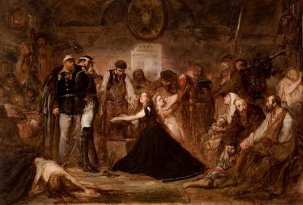 """Polonia (Poland), 1863"", by Jan Matejko, 1864, National Museum, Kraków. (Public Domain) Pictured is the aftermath of the failed January 1863 Uprising. Captives await transportation to Siberia. Russian officers and soldiers supervise a blacksmith placing shackles on a woman (Polonia). The blonde girl next to her represents Lithuania."