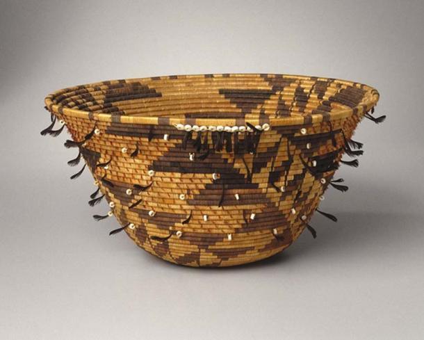 Pomo, Native American. Girl's Coiled Dowry or Puberty Basket (kol-chu or ti-ri-bu-ku), late 19th