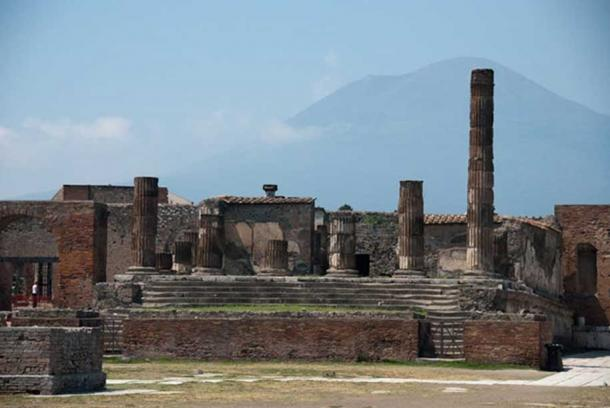 Pompeii ruins with Mount Vesuvius in the background.