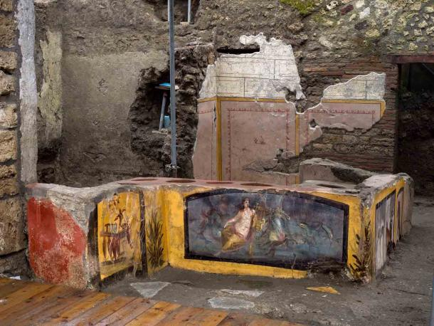 """Another view of the Pompeii food stall found in 2019 AD that is set to """"reopen"""" in 2021 at the Pompeii Archaeological Park in Italy. (Pompeii Archaeological Park)"""