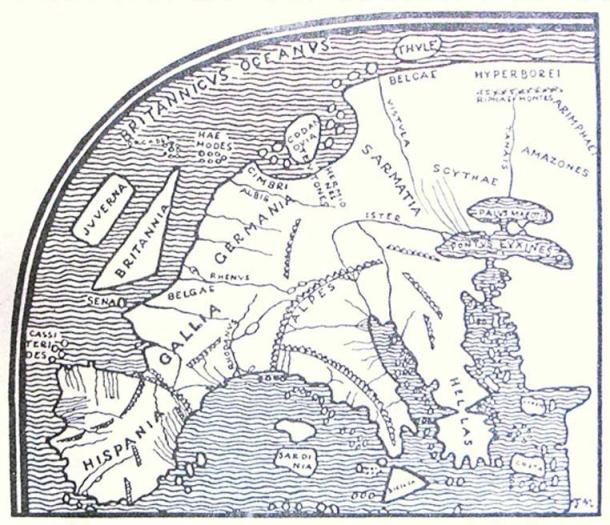 Pomponius Mela's map of Europe, printed by F. Nansen in 1911. The Britannic Sea can be seen in the upper left. (Public Domain)