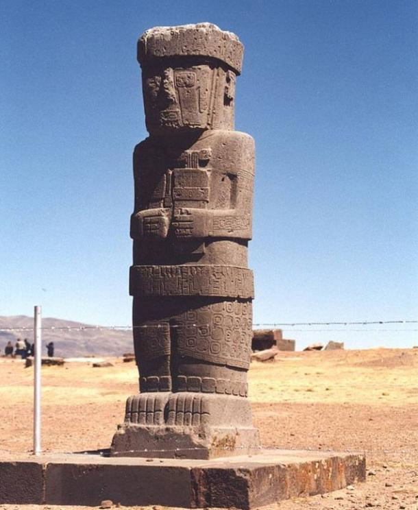 Ponce stela in the sunken courtyard of the Tiwanaku's Kalasasaya temple.