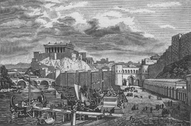 Drawing of the site of the Pons Sublicius (falsely shown as a pier). Illustration of Rome during the time of the Republic.
