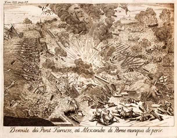 Pontoon bridge by Alexander Farnese blown-up during the siege of Antwerp, 1585.
