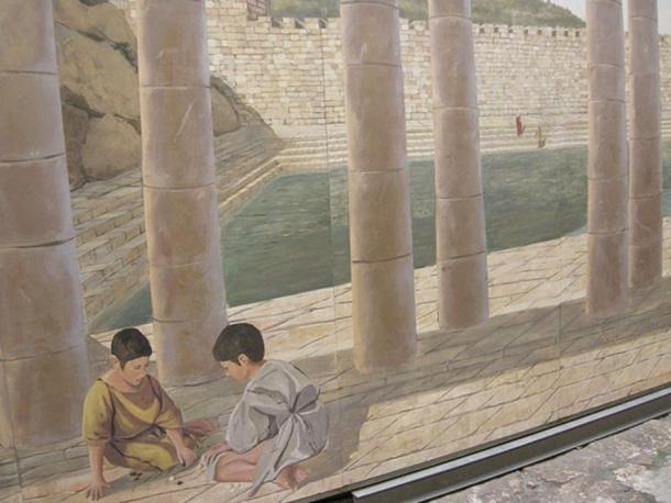 """Artist's reconstruction of the Pool of Siloam in the """"City of David""""."""