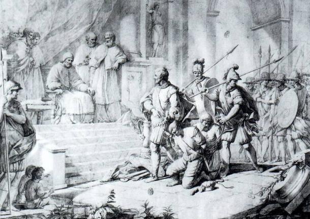 Pope Alexander VI dispensing justice