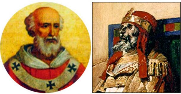 On the left, Pope Formoso, whose body was exhumed, tried and condemned (Public Domain). On the right, an impressive 'close-up' of Lauren's painting of the Pope's corpse during the macabre trial.(Public Domain)