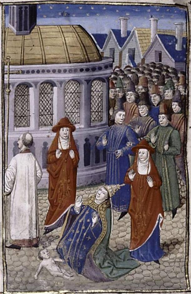 Pope Joan gives birth during a Church procession, artist Giovanni Boccaccio Circa 1450. (Public Domain)