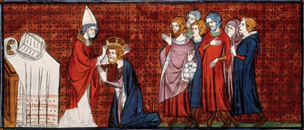Pope Leo III crowning Charlemagne as Emperor on Christmas Day.