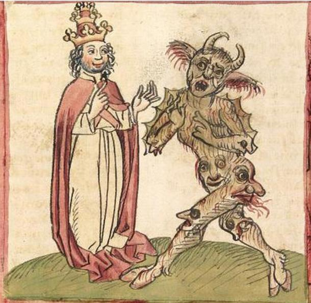 Pope Silvester II. and the Devil. Illustration from Cod. Pal. germ. 137, Folio 216v Martinus Oppaviensis, Chronicon pontificum et imperatorum