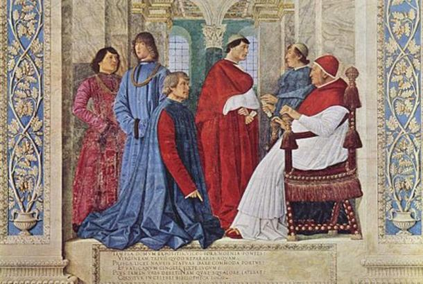 Pope Sixtus IV with his courtiers and nephews. (1477) Girolamo Riario is the figure in blue, second from the left.