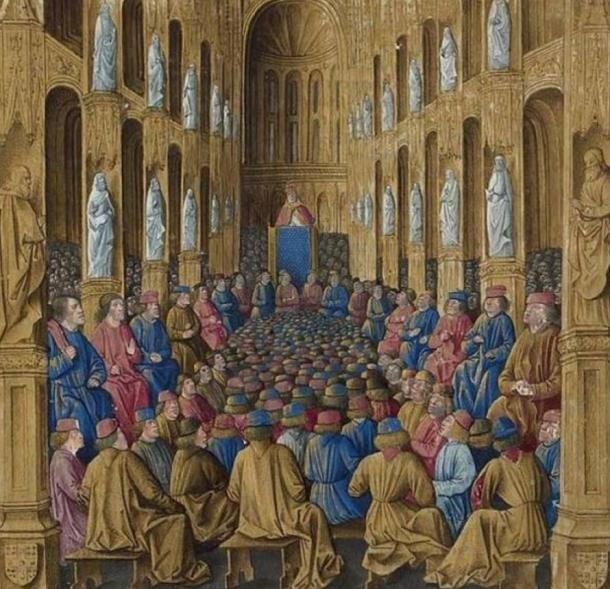 Pope Urban II preaching at the Council of Clermont. Sébastien Mamerot, 'Les passages d'outremer.'