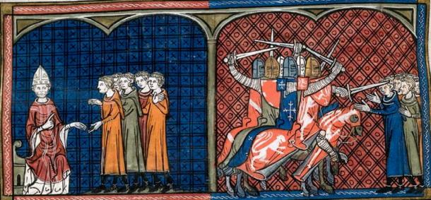 Pope Innocent III excommunicating the Albigensians (left), massacre of the Albigensians by the crusaders (right). (Rolling Bone / Public Domain)