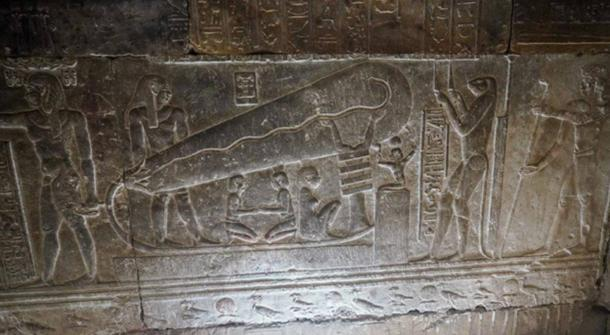 The most popular 'Dendera light' relief in the Temple of Hathor, Dendera, Egypt. (Ioannis Syrigos)