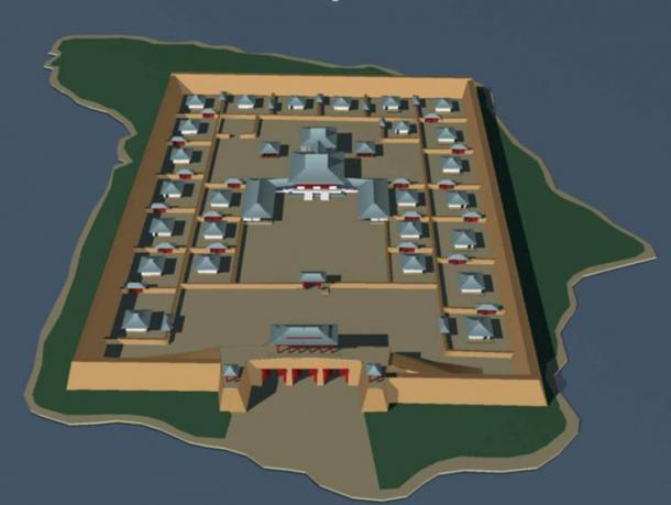 Por-Bajin reconstruction seen from the east