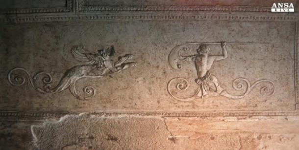 Screenshot from an Ansa.it video of the Porta Maggiore basilica showing a griffin with a hunter