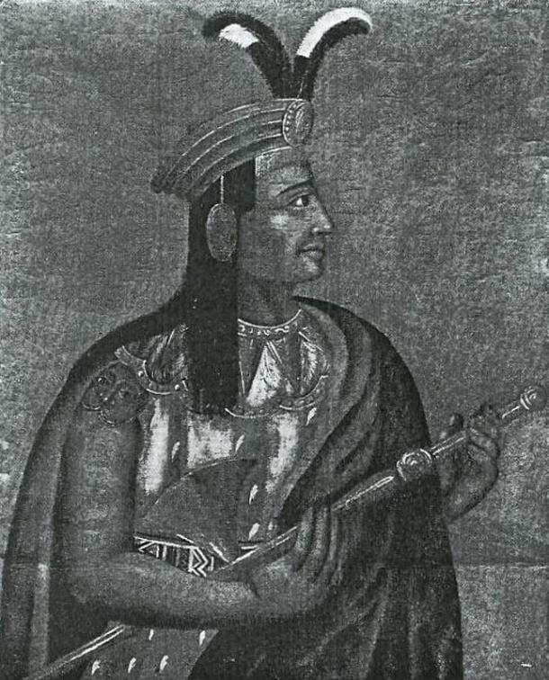 A portrait of Atahualpa, drawn from life, by a member of Pizarro's detachment during the Spanish invasion of Ecuador. 1533.