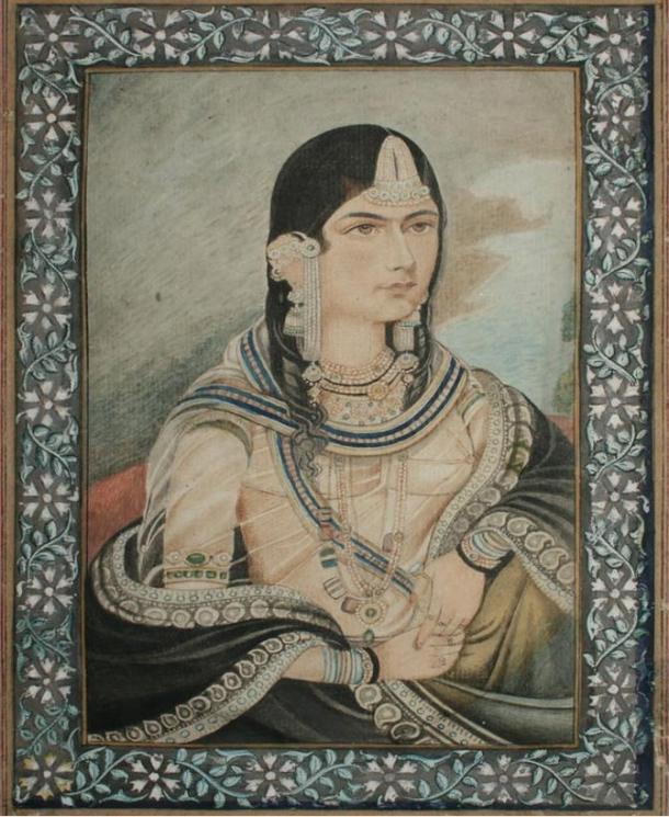 Portrait of Bega Begum (Hamida Banu Begum), whom had the tomb built for her late husband, Humayun.  Circa 19th Century.