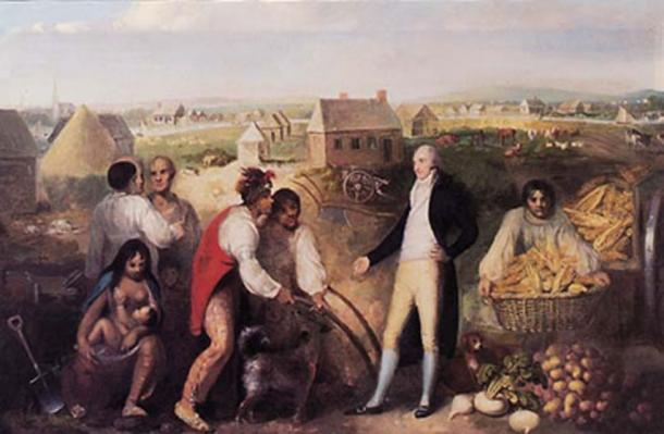 Portrait of Benjamin Hawkins (1754-1818) on his plantation along the Flint River in central Georgia. (Public Domain) Here he is instructing Muscogee Creek in European technology.