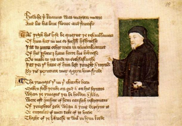 Portrait of Chaucer by Thomas Hoccleve in the Regiment of Princes (1412)