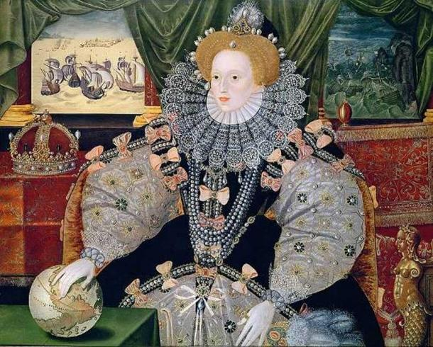 Portrait of Elizabeth I commemorating the defeat of the Spanish Armada (1588).