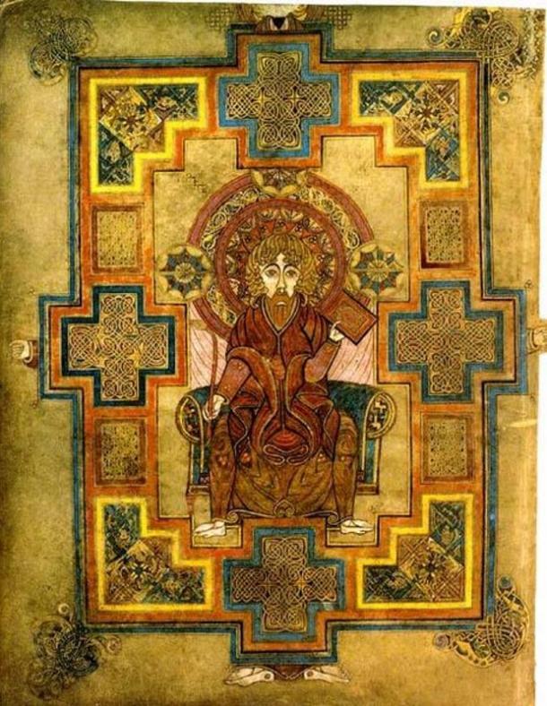 Portrait of John illustrated in the ancient Book of Kells. Dublin, Ireland.