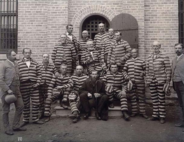 Portrait of Mormon polygamists in prison at the Utah Penitentiary c. 1889.
