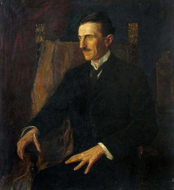 'Blue Portrait of Nikola Tesla', the only painting Tesla posed for.
