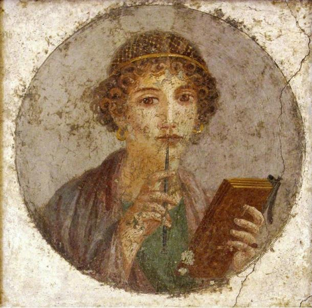 Portrait of Sappho from Pompeii, c. 50 AD, a famous poet of ancient Rome who wrote poems about beauty