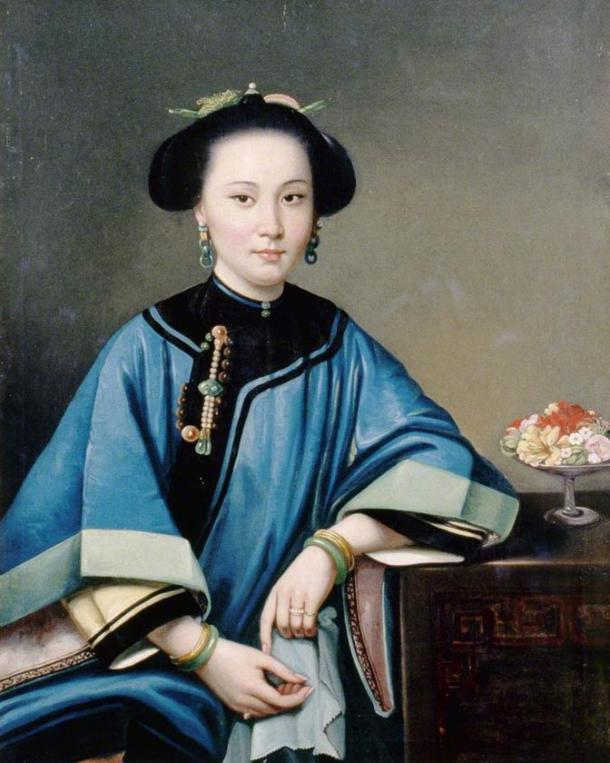 Portrait of a concubine, by Chinese painter Lam Qua, 1864